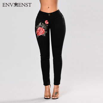 Rose Embroidery Pencil Jeans - I Am Greek Life