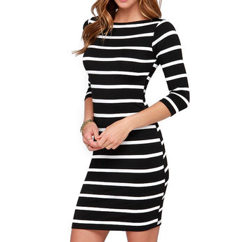 Black and White Striped Casual Dress