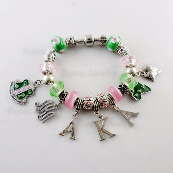 Pink and Green AKA Sorority Charm Bracelet