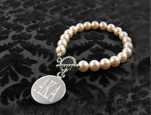 Simulated Pearl AKA Bracelet - I Am Greek Life