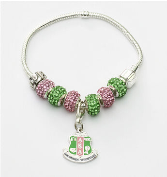 AKA Sorority Pin Letter Charm Bracelet - I Am Greek Life