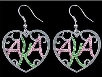Crystal Heart Earrings - Alpha Kappa Alpha - I Am Greek Life