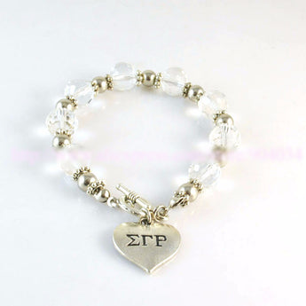 Sigma Gamma Rho Sorority Sliver Heart Bracelet - I Am Greek Life