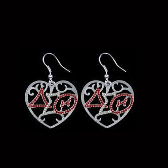 Crystal Heart Delta Sigma Theta Earrings - I Am Greek Life