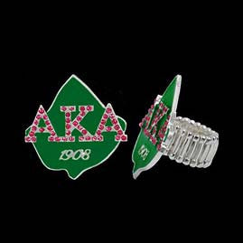 Stretch Green Enamel Pink  Alpha Kappa Alpha Ring - I Am Greek Life