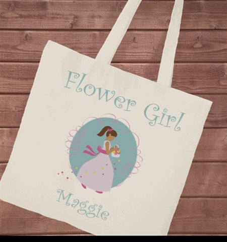 Canvas Tote - Flower Girl blue