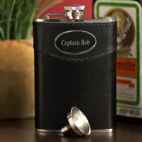 8 oz leather wrapped  personalized flask
