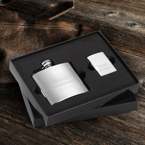 4 oz flask and brushed zippo lighter gift set