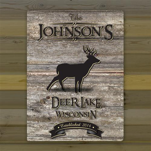 Canvas Sign - Welcome to the Lake with deer