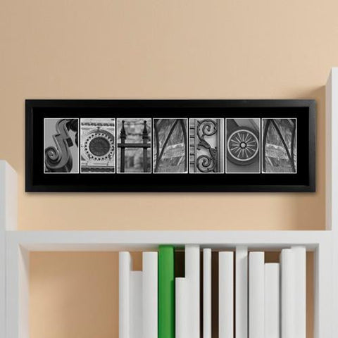 architectural elements alphabet black and white personalized family name sign 1