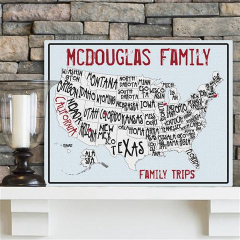 Family Travel Map Canvas Sign light Blue