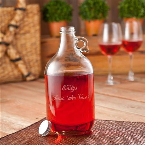 personalized wine jug w 2 wine glasses