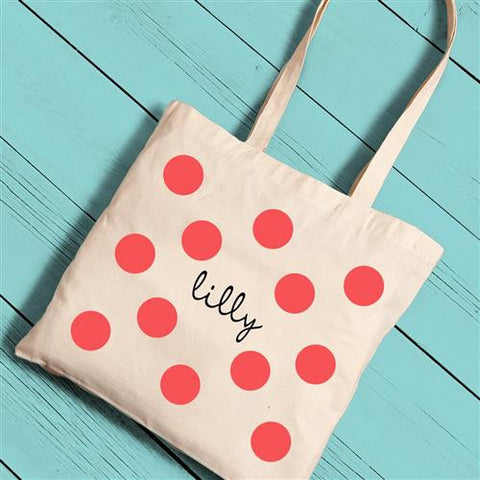 Girls Canvas Totes - Polka Dots