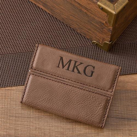 Mocha Microfiber Personalized Business Card Case