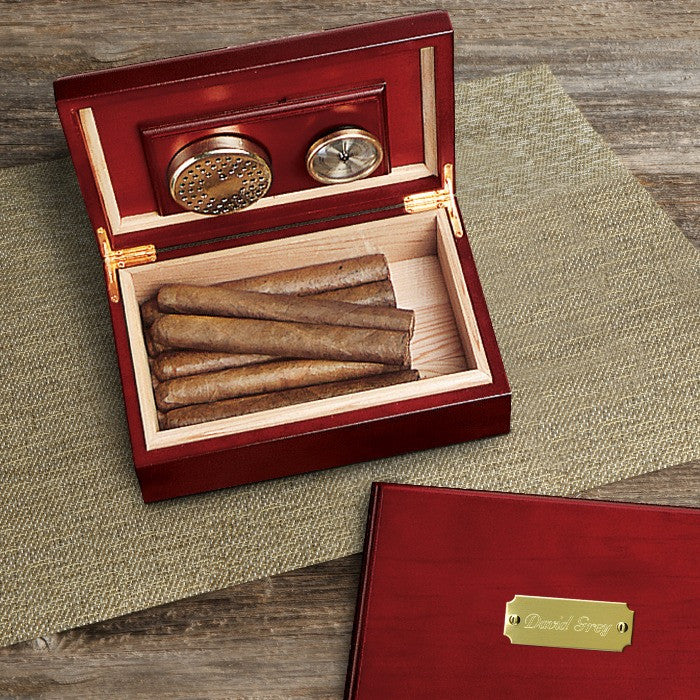 personalized humidor in cherry finish