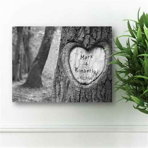 Everlasting Love Tree Carving Personalized Canvas Sign