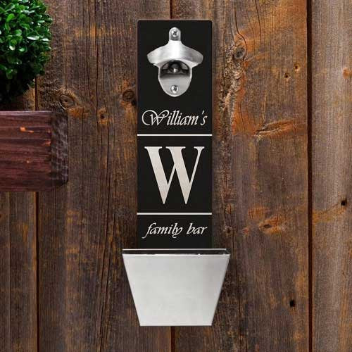personalized wall mounted bottle opener family bar