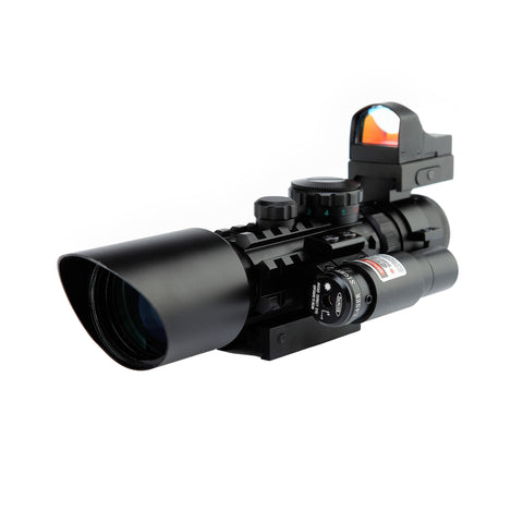Scope-Dot Sight-Laser 3 in 1 Combo, 3-10 x 42 Compact Scope Red Laser Holographic Green / Red Dot Sight