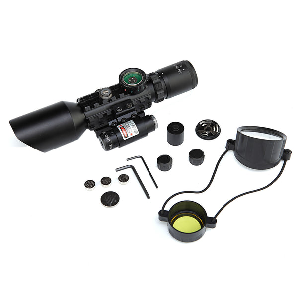 Scope-Laser 2 in 1 Combo, 3-10 x 42 Compact Scope Red Laser