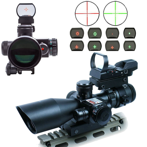Scope-Dot Sight-Laser 3 in 1 Combo, 2.5-10 x 40 ER 101 Compact Scope Red Laser Holographic Green / Red Dot Sight