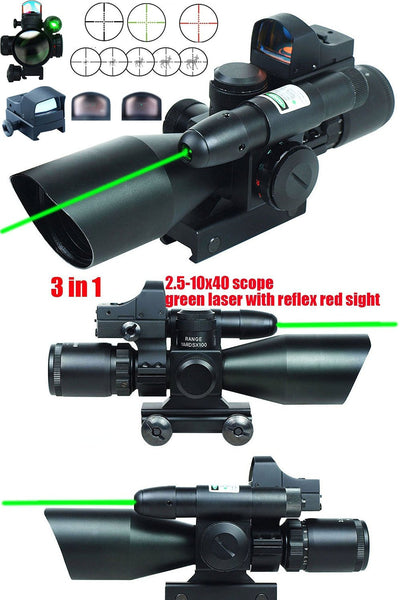 Scope-Dot Sight-Laser 3 in 1 Combo, 2.5-10 x 40 EG 107 Compact Scope Green Laser Holographic Green / Red Dot Sight