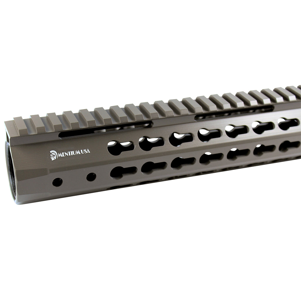 "15"" Cerakote Elite Flat Dark Earth Coating - Slim Keymod Free Float Handguard - Steel Nut"