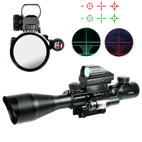 Scope-Dot Sight-Laser 3 in 1 Combo, 4-12x50 Compact Scope Laser Holographic Green/Red Dot Sight