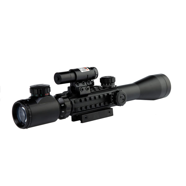 Scope-Dot Sight-Laser 3 in 1 Combo, C3-9 x 40EG HD22 Compact Scope Red Laser Holographic Green / Red Dot Sight