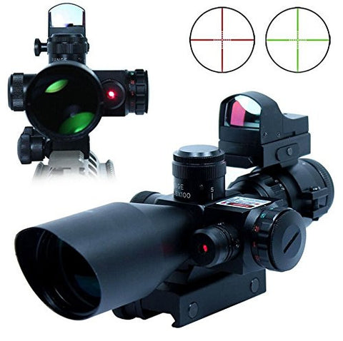 Scope-Dot Sight-Laser 3 in 1 Combo, 2.5-10 x 40 ER 107 Compact Scope Red Laser Holographic Green / Red Dot Sight