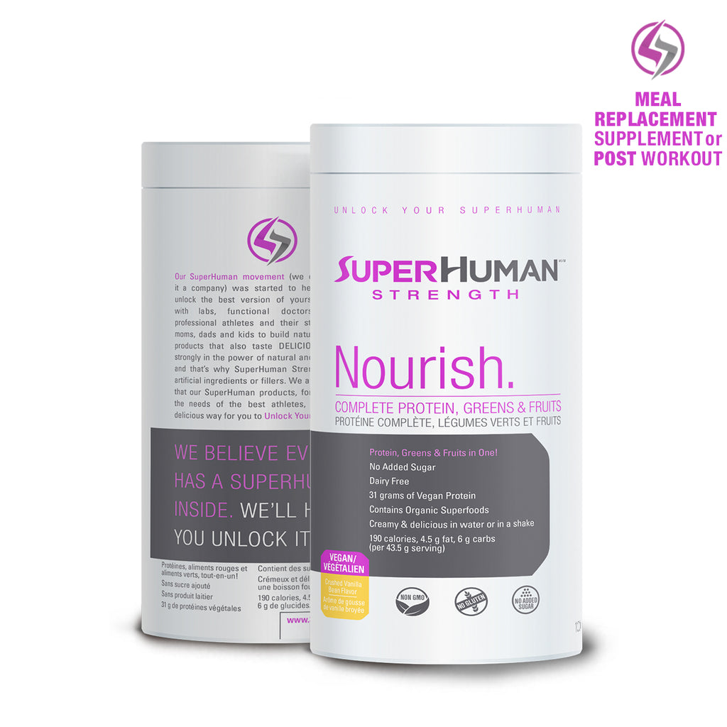 SuperHuman Strength Vegan Protein Supplement with Greens and Fruits