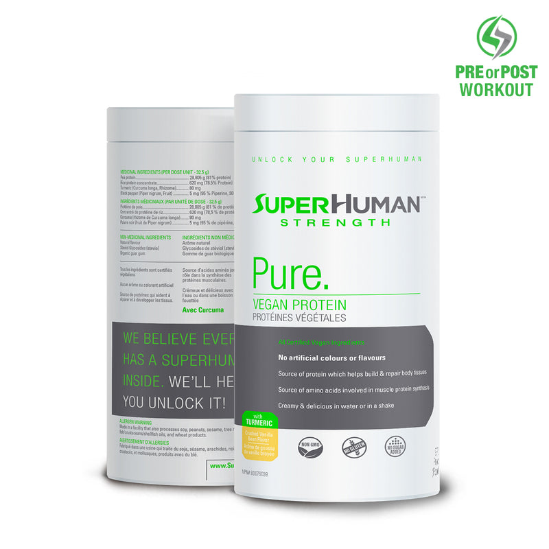 SuperHuman Pure Vegan Protein - Pea Protein Isolate - Pre & Post Workout
