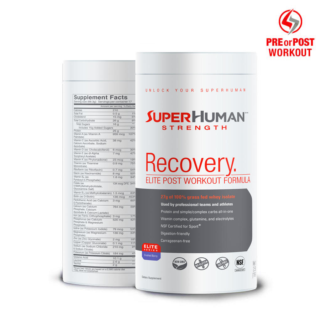 SuperHuman Recovery Protein - Grass Fed Whey Isolate Protein, Carbohydrate & Vitamin Blend