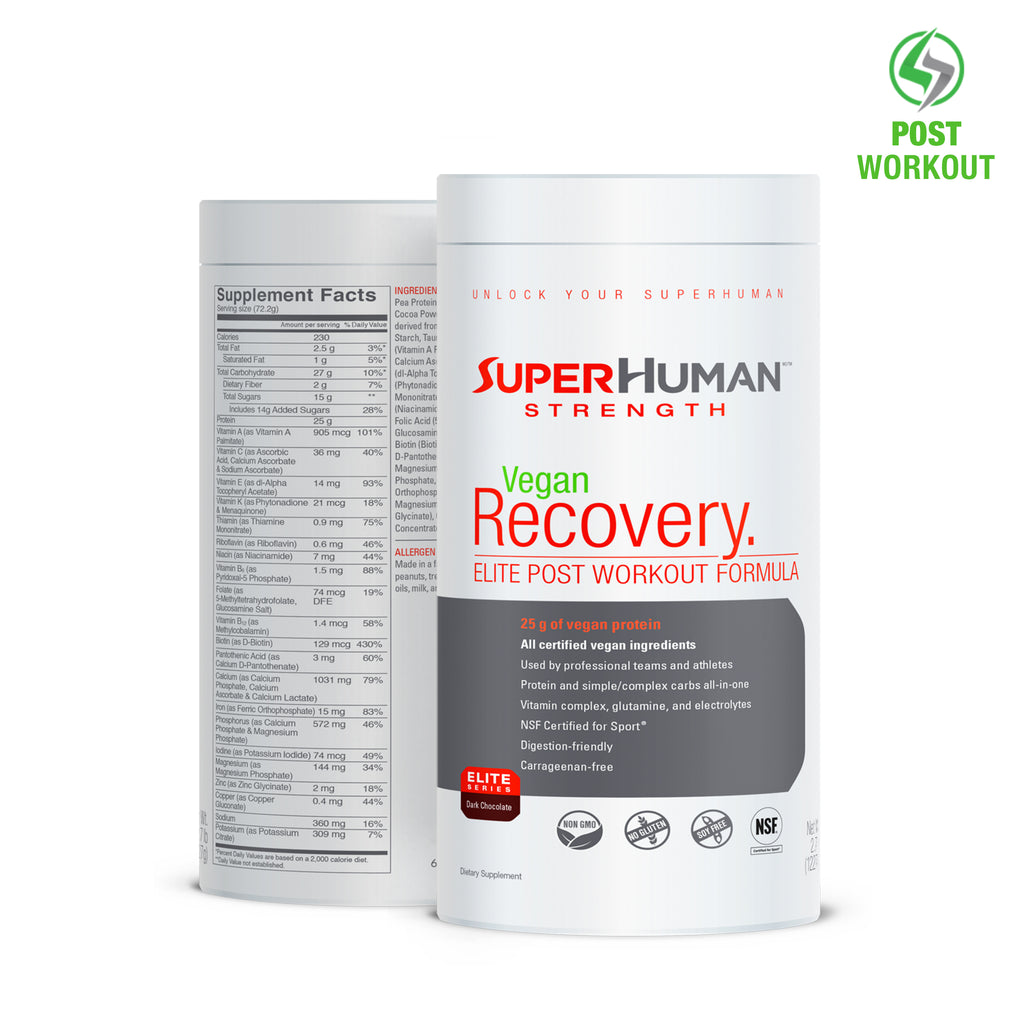 SuperHuman Vegan Recovery Protein - Vegan Protein, Carbohydrate & Vitamin Blend
