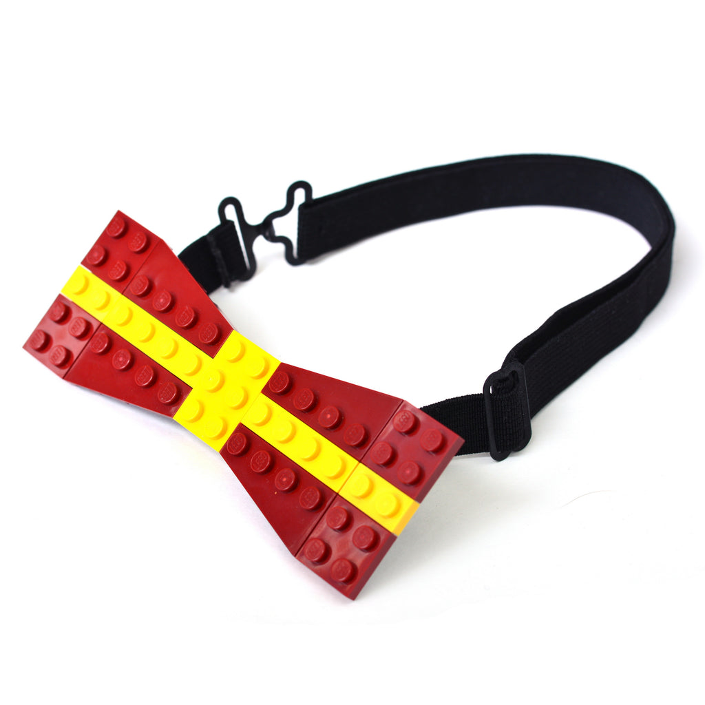 Dark red with yellow cross