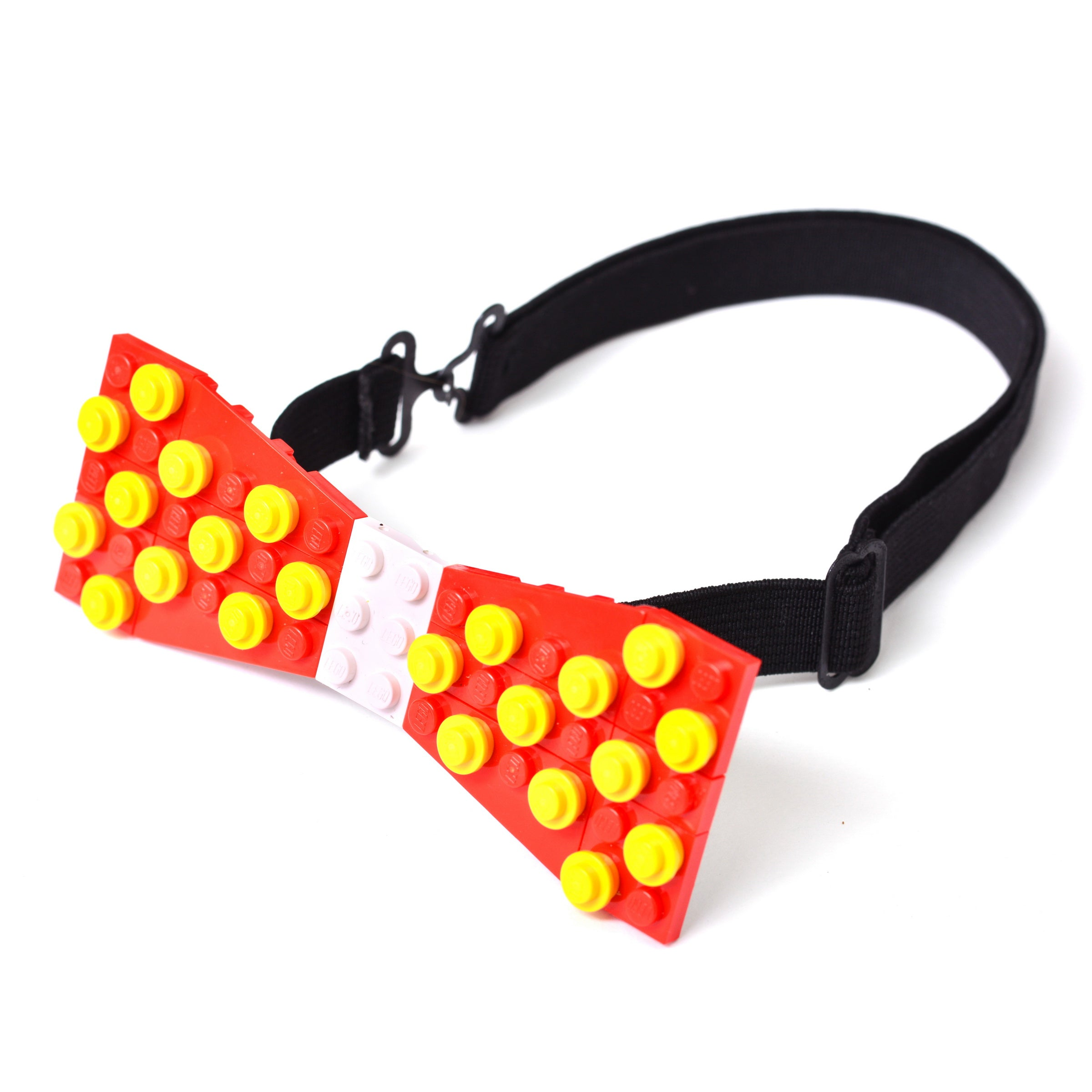 Red with white center and yellow dots