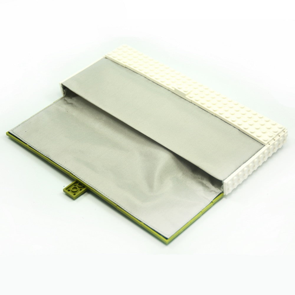 Limited Edition - olive green & white clutch