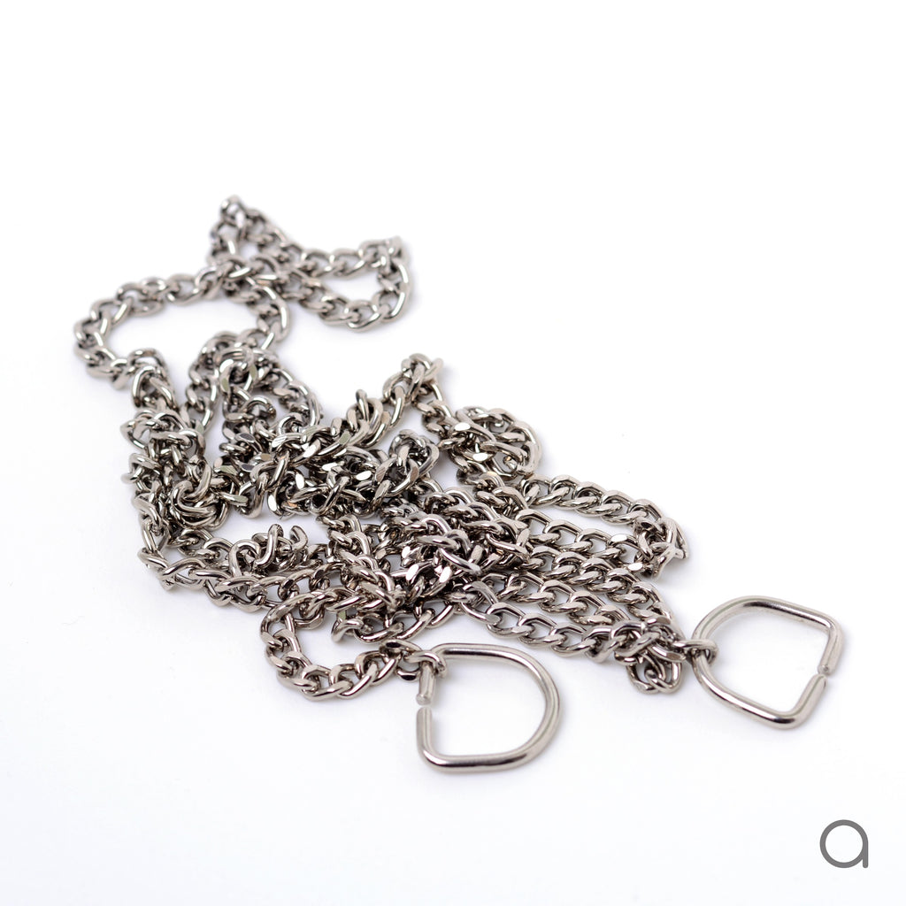 Fixed silver color chain - 110 cm