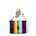 Black rainbow clutch on a chain
