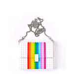 White rainbow clutch on a chain