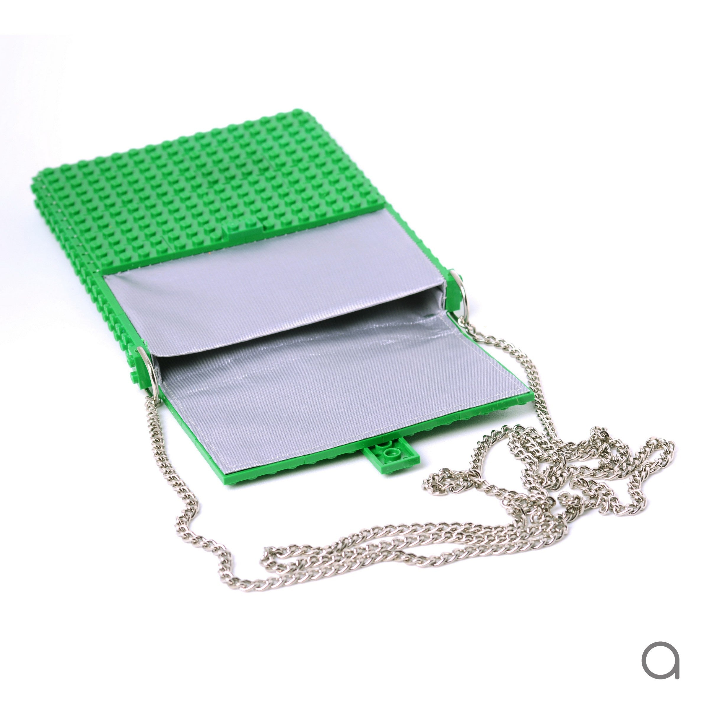 Green hip clutch on a chain