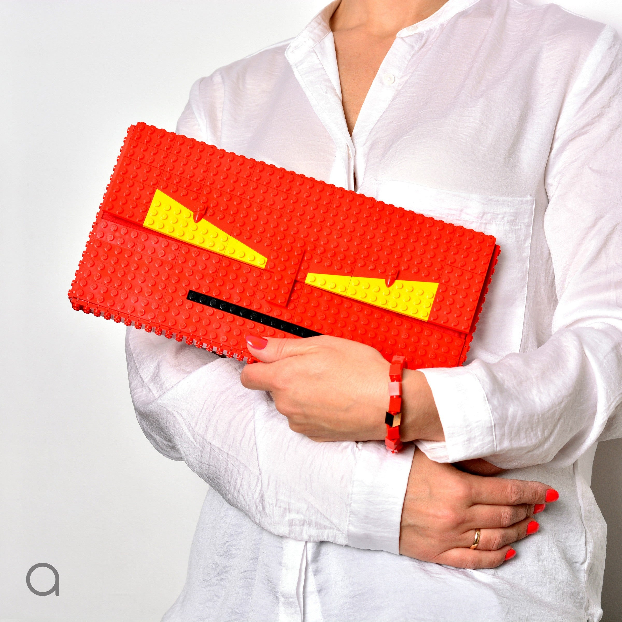 Red monster face oversize clutch