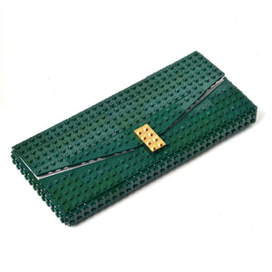 Dark green envelope flap clutch with goldplated lock