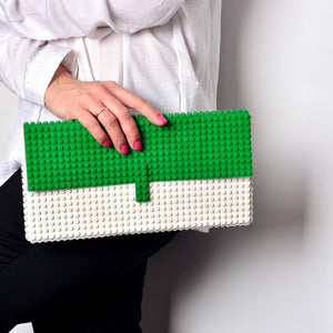 Oversize white/green clutch