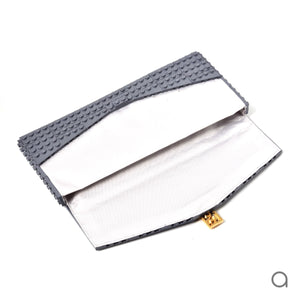 Dark grey envelope flap clutch with goldplated lock