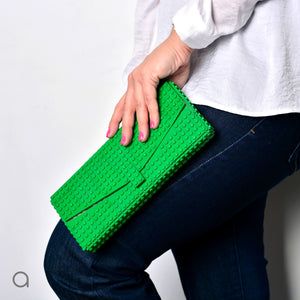 Green envelope flap clutch