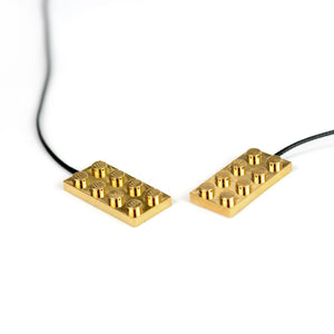 Minimal gold cross necklace - goldplated bricks