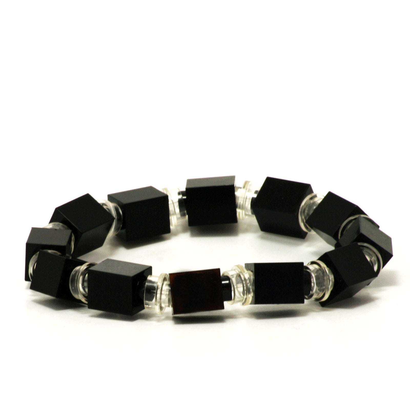 black & transparent beaded bracelet