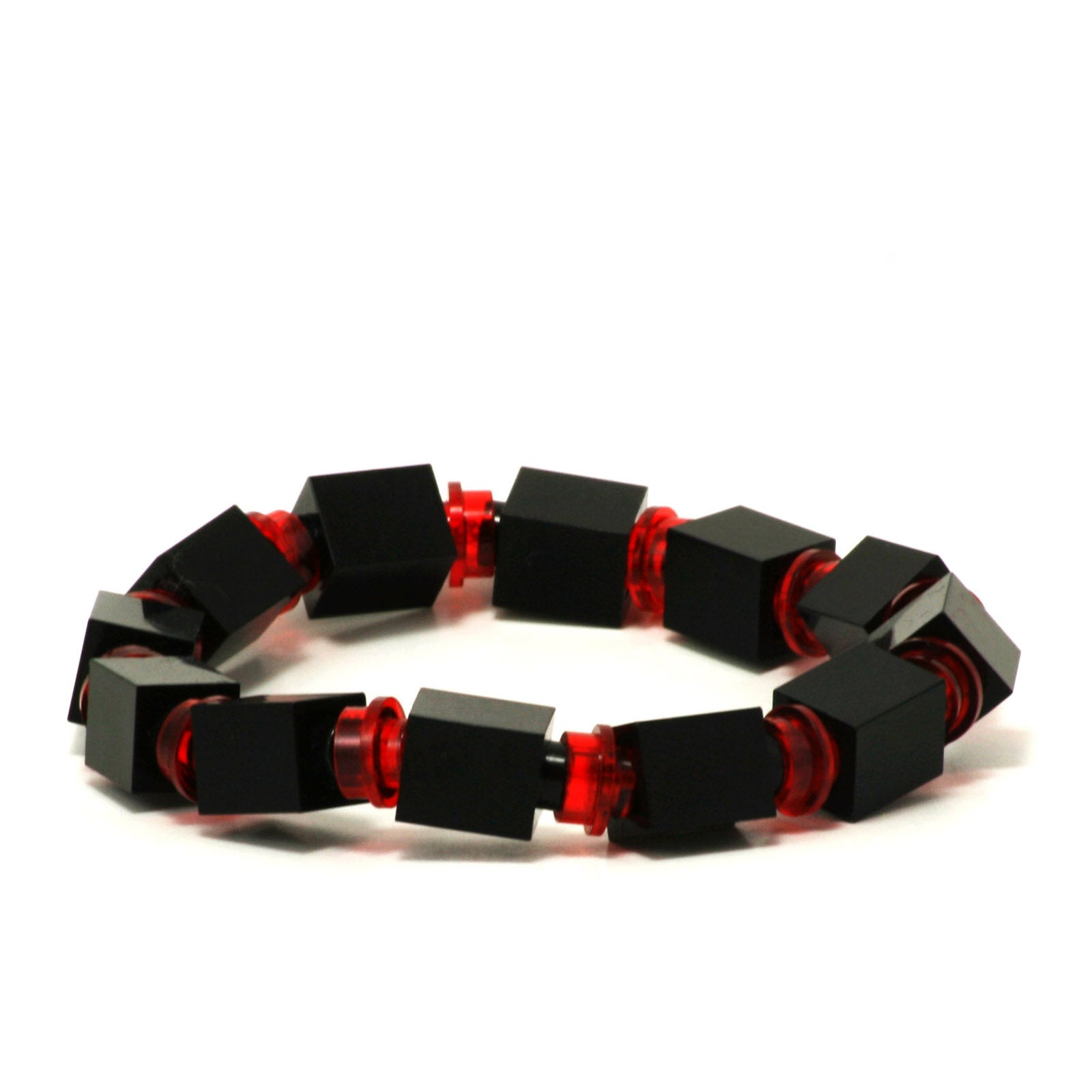 black & transparent red beaded bracelet