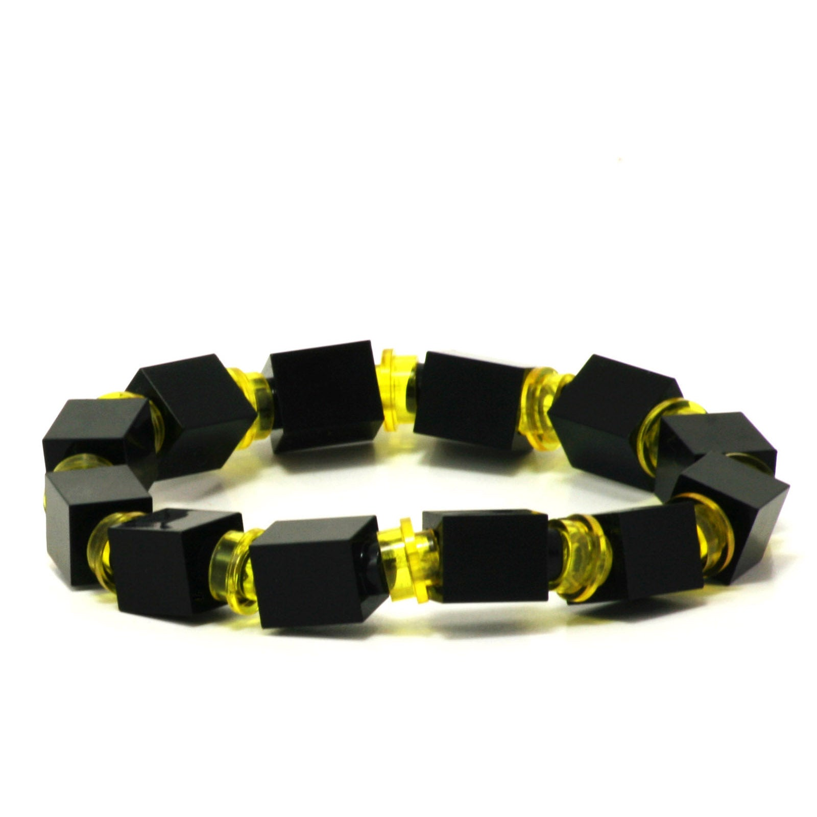 black & transparent yellow beaded bracelet