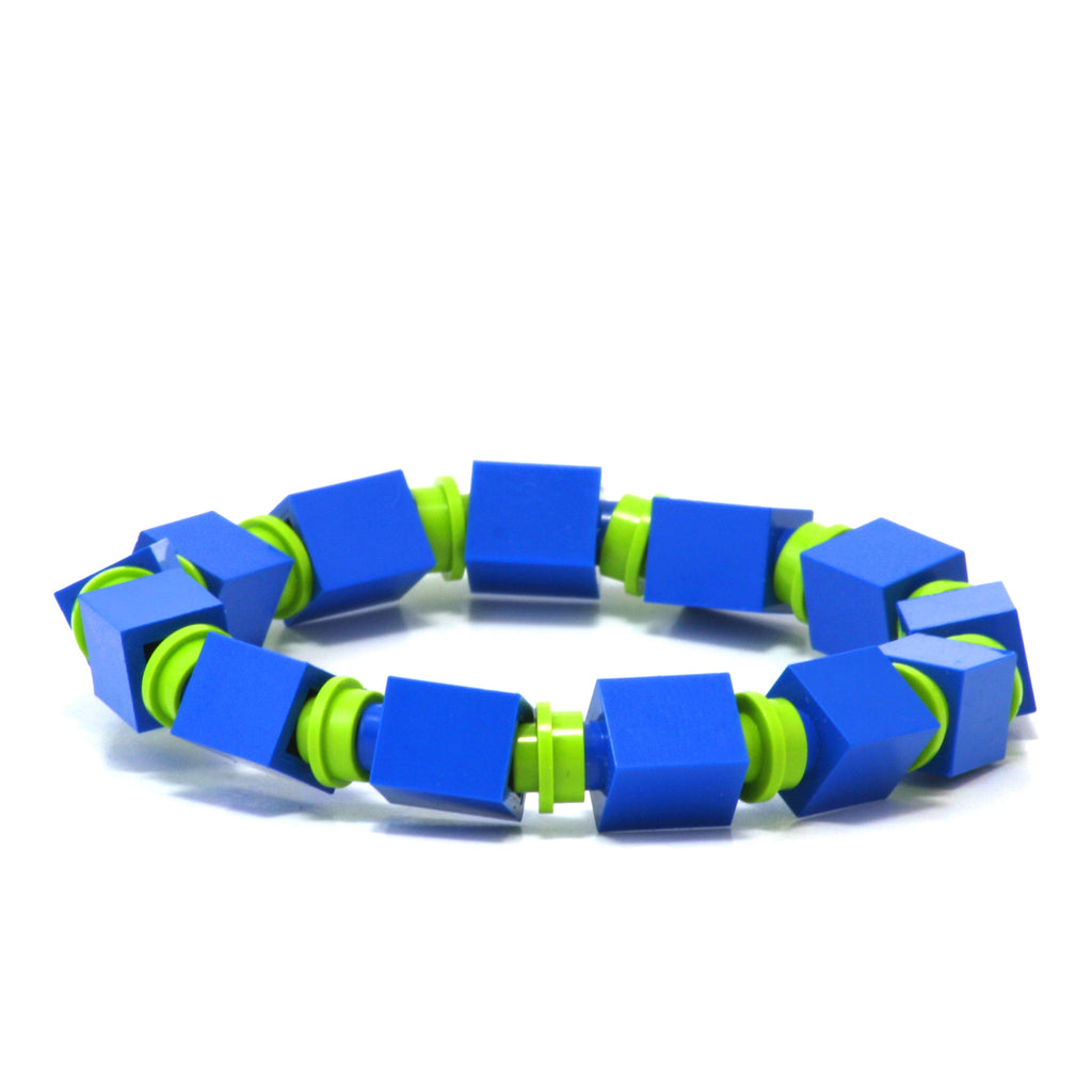 blue & lime beaded bracelet